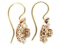 18ct Gold Diamond Cluster Edwardian Earrings