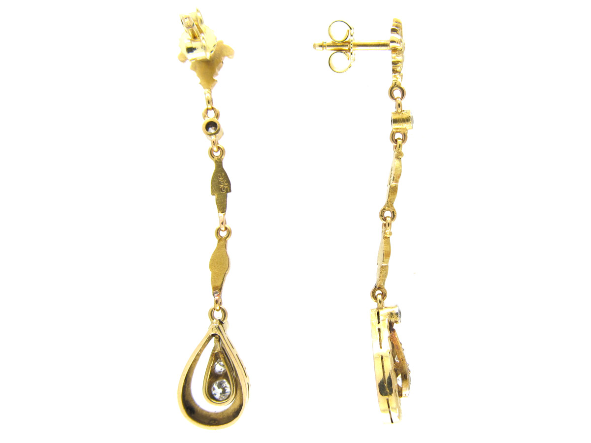 Austrian 14ct Gold & Diamond Edwardian Drop Earrings