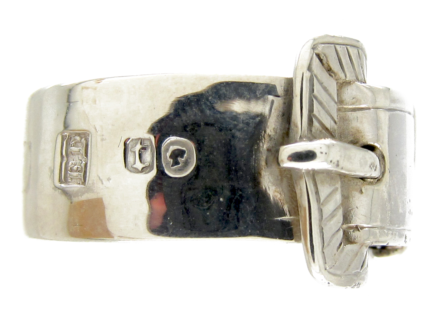 Victorian Wide Silver Buckle Ring
