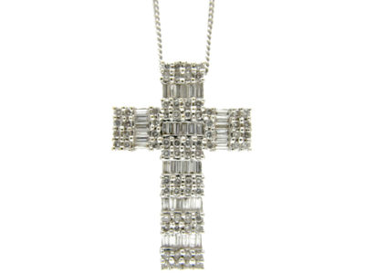 Diamond & 18ct White Gold Cross