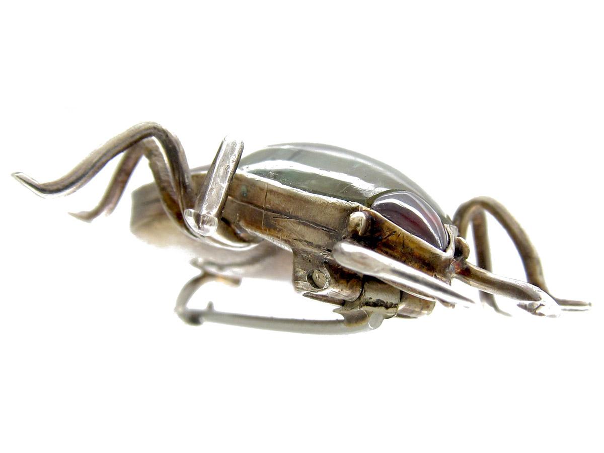 Georgian Silver & Crystal Beetle Brooch