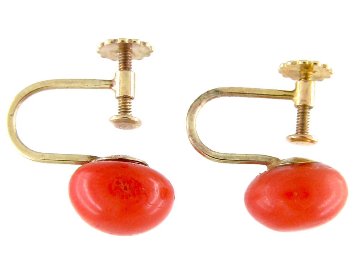Coral Bouton 9ct Gold Earrings