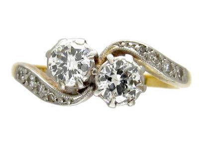 Art Nouveau Two Stone Diamond Crossover Ring