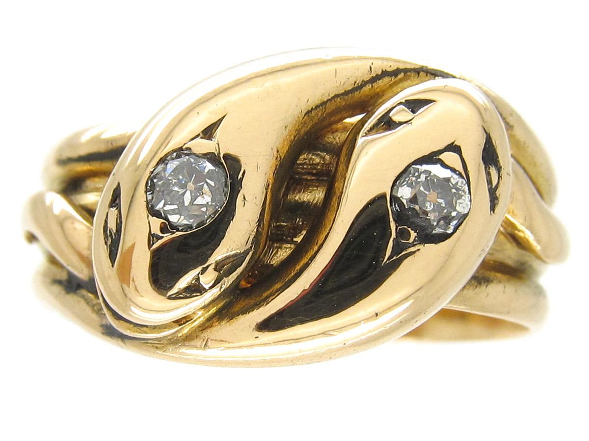 Victorian Diamond Set Double Snake Ring