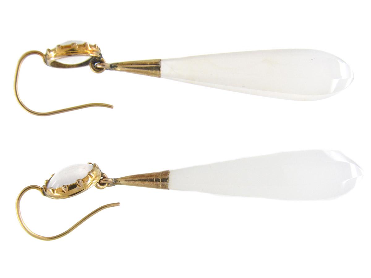 Regency Chalcedony & Gold Drop Earrings