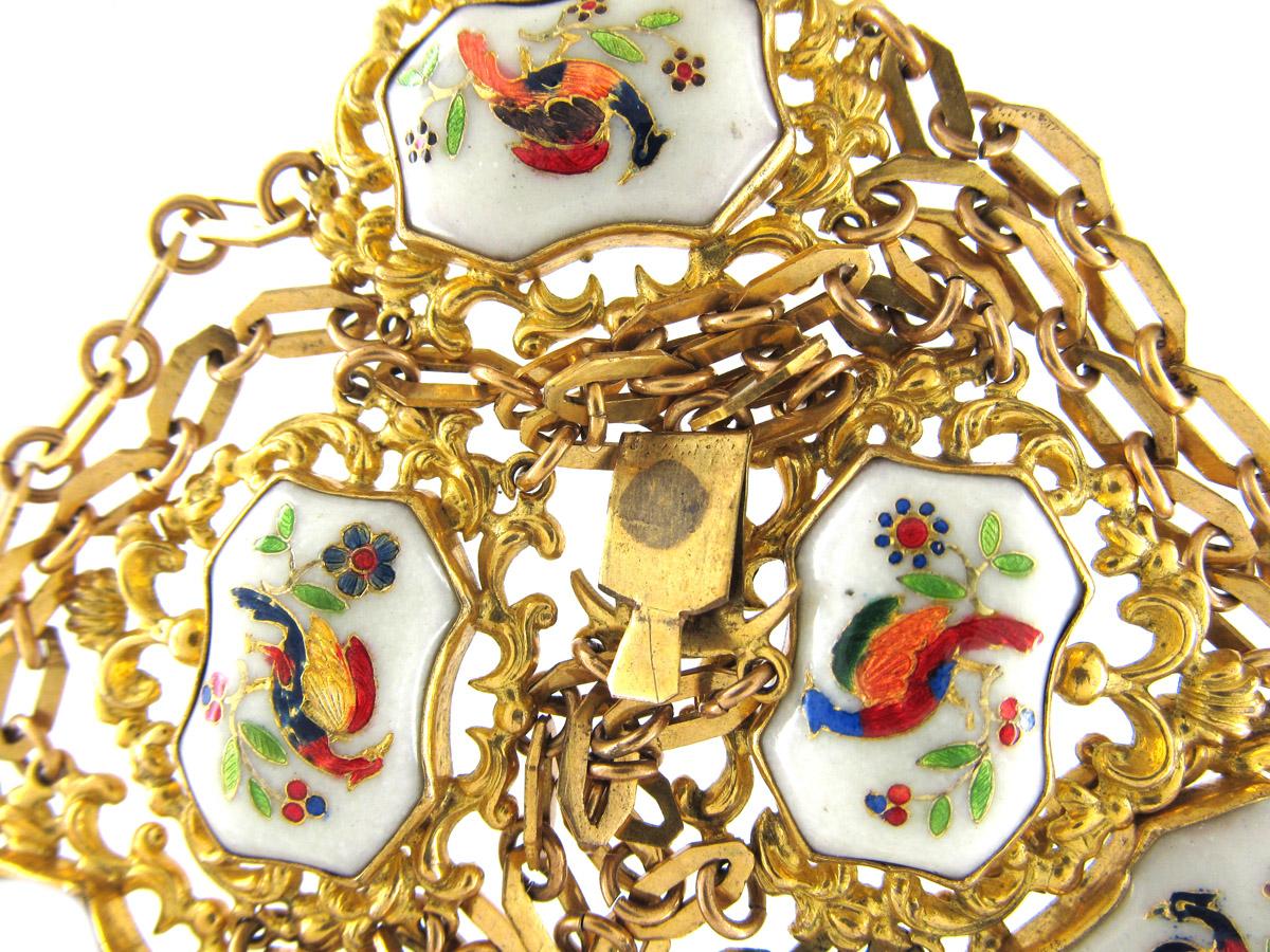 Regency Pinchbeck & Enamel Hoho Birds Necklace