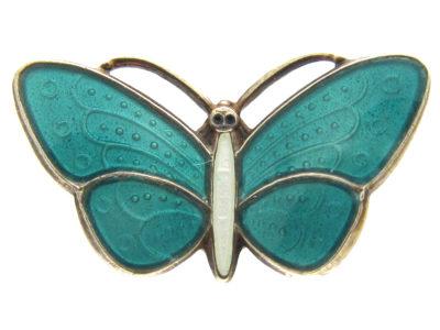 Silver & Turquoise Enamel Small Butterfly Brooch