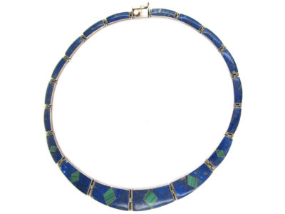 Lapis & Malachite Silver Mexican Necklace