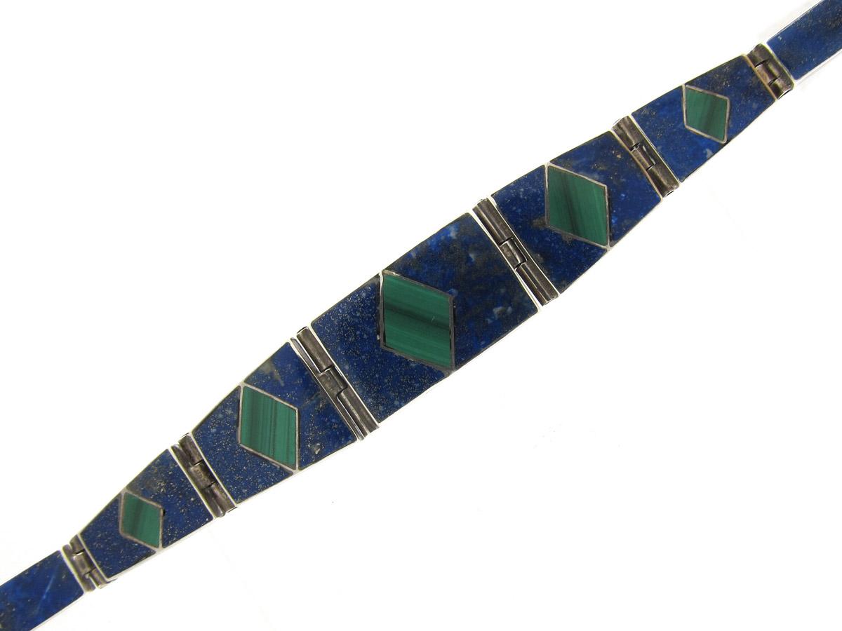 Malachite & Lapis Lazuli Silver Mexican Bracelet