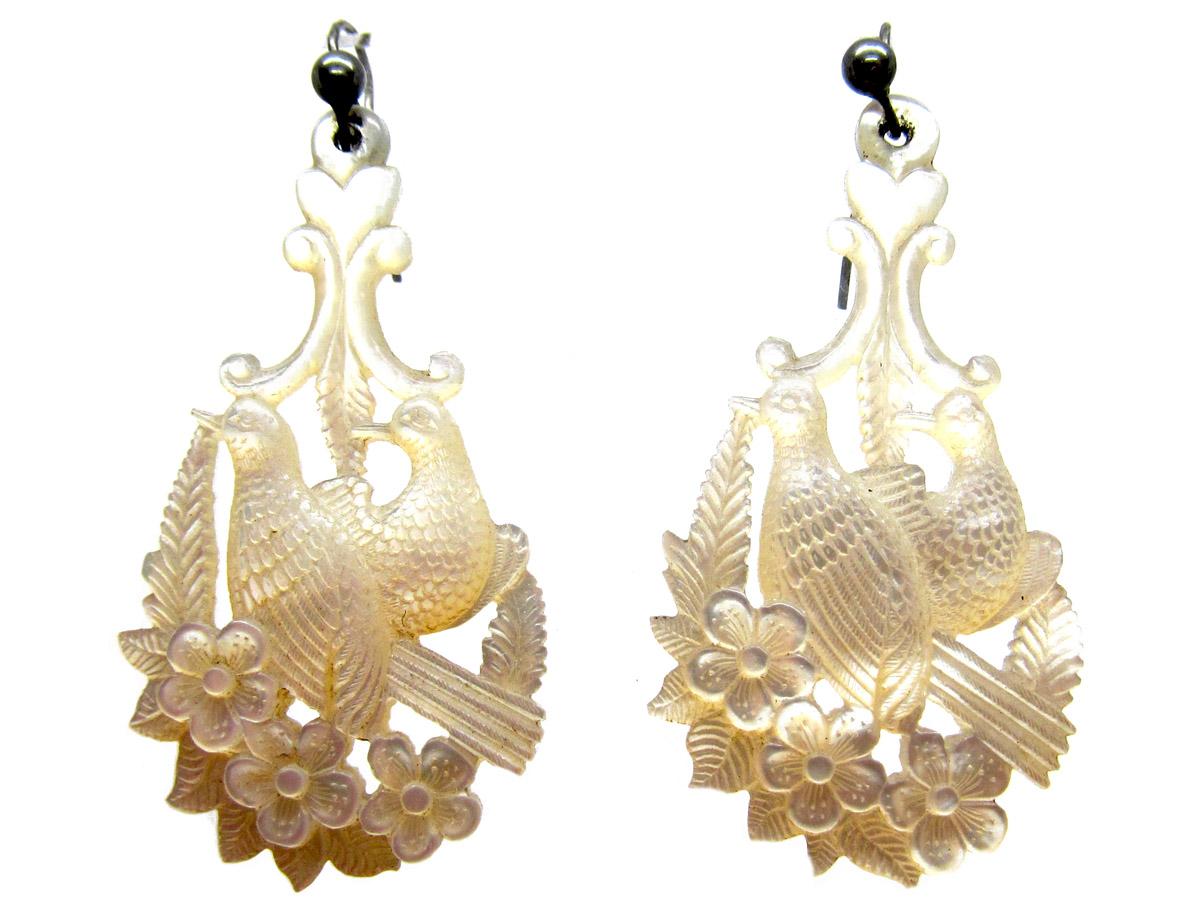 Regency Carved Mother of Pearl Drop Earrings