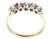 Art Deco Diamond & Ruby Five Stone Ring