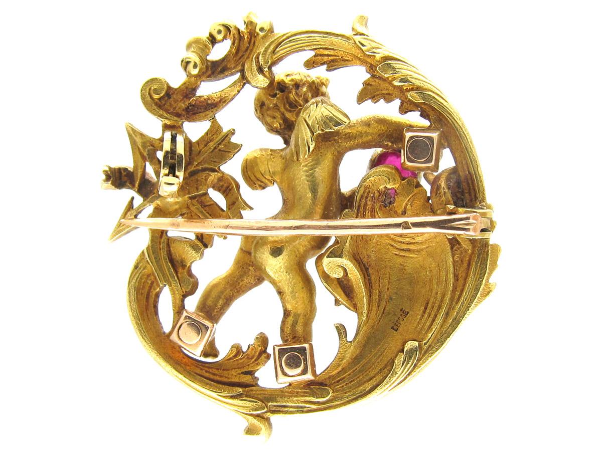 18ct Gold Rococo Cherub Love Brooch