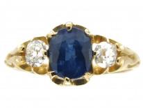 Sapphire & Diamond Three Stone Victorian Ring
