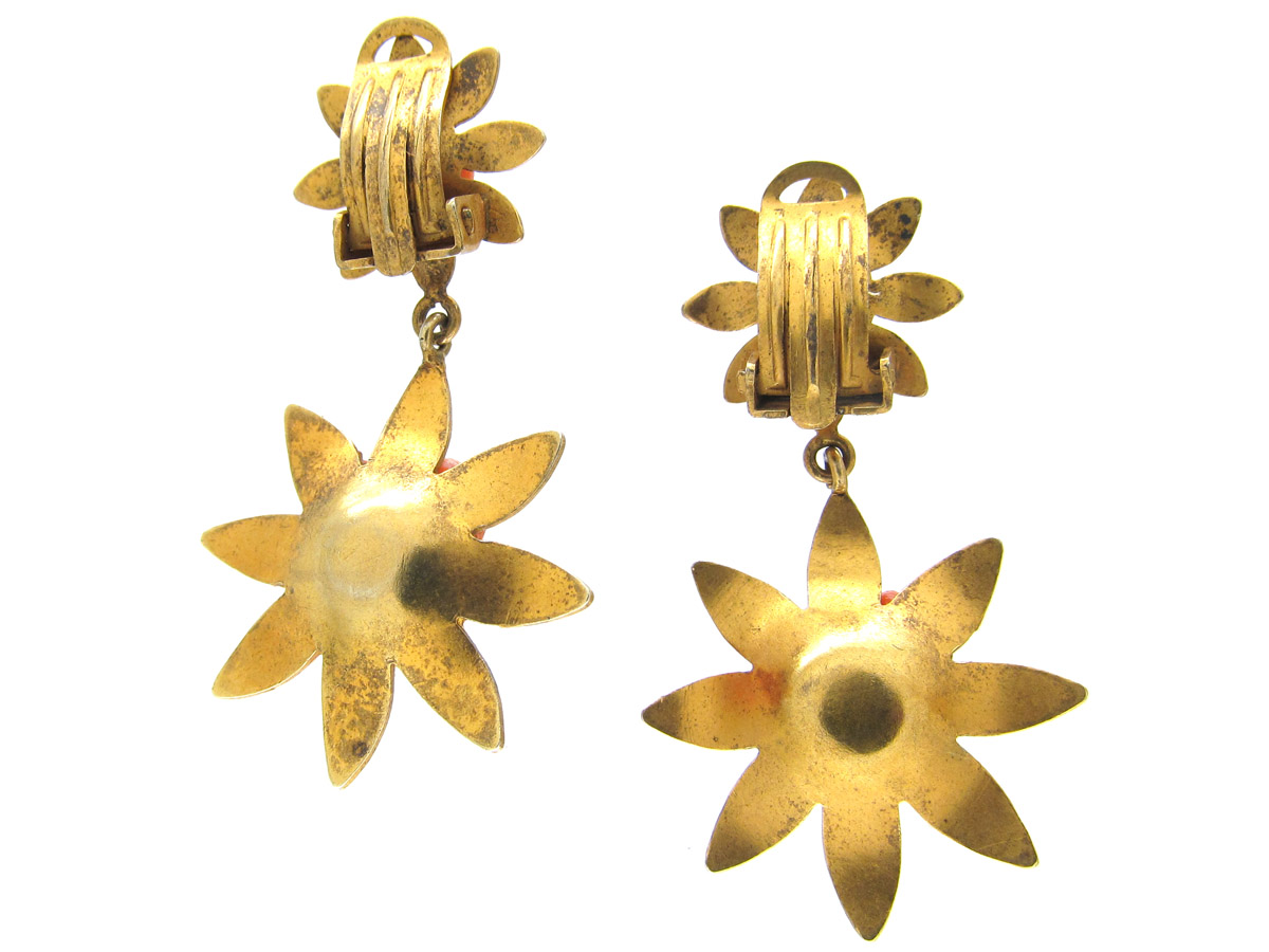 Victorian Silver Gilt & Coral Two Flower Earrings