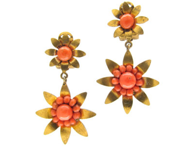 Victorian Silver Gilt ​& Coral Two Flower Earrings