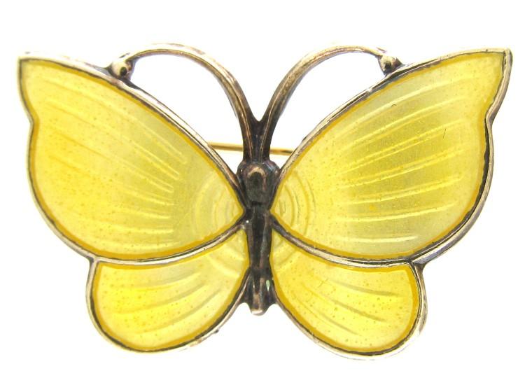 Small Silver Yellow Enamel Butterfly Brooch
