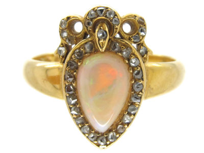 Victorian Heart Shaped Opal & Diamond Ring