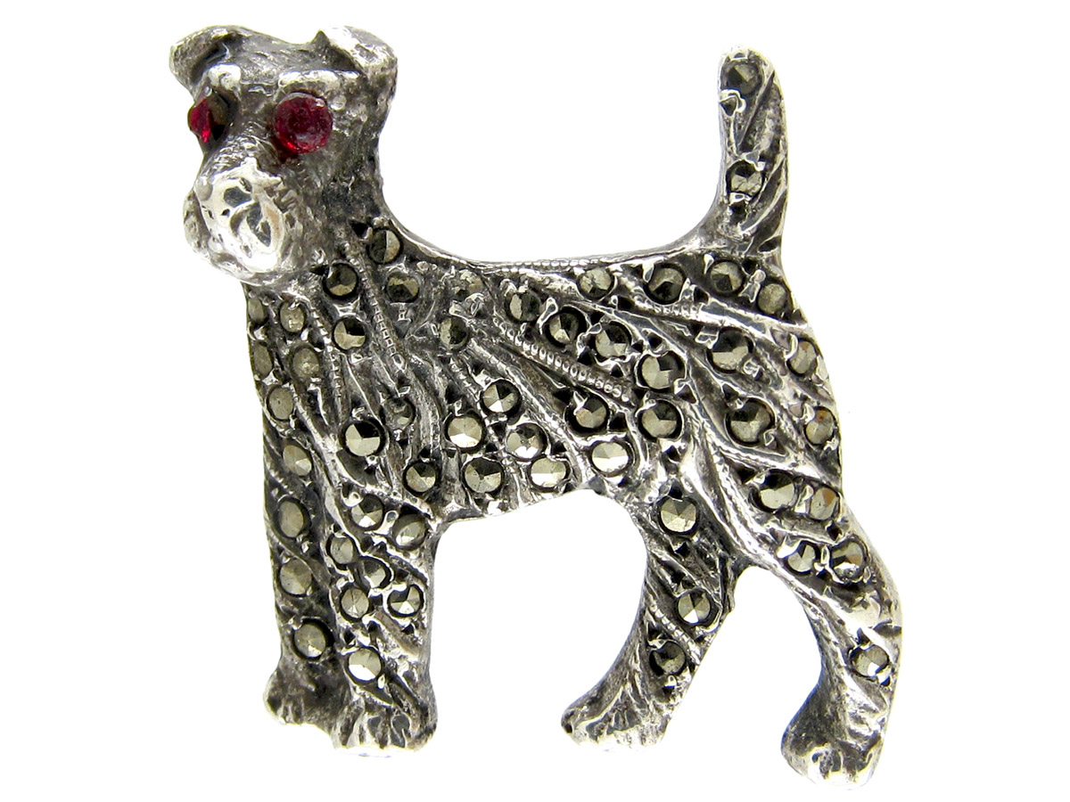 Silver & Marcasite Terrier Brooch