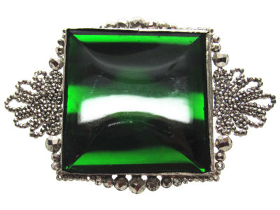 Georgian Cut Steel & Green Vauxhall Glass Brooch
