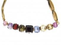 Multi Gem Stone Gold Edwardian Bracelet