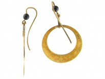 Art Deco Black Enamel Gold Hoop Earrings