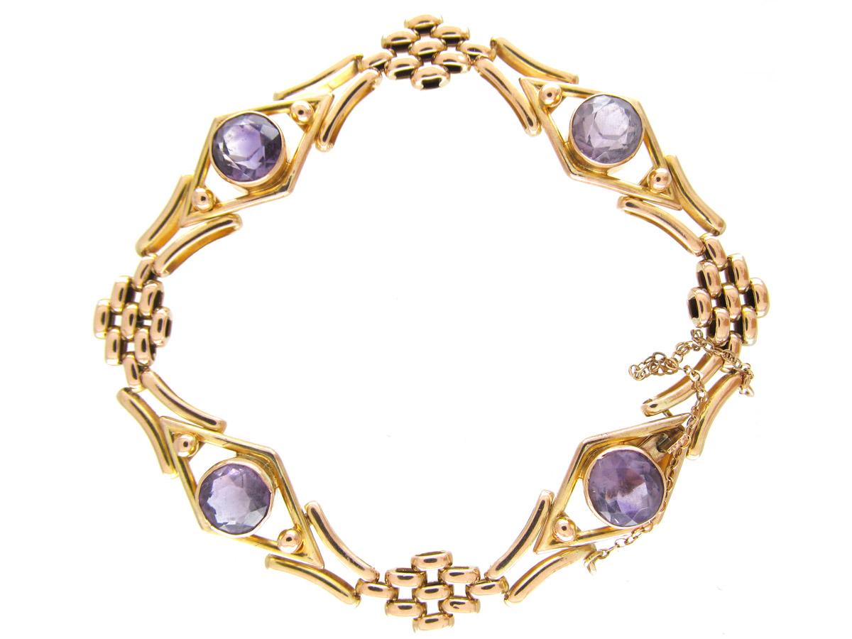 Edwardian Amethyst 9ct Gold Gate Bracelet