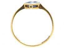 Art Deco Sapphire & Diamond Double Diamond Shaped Ring