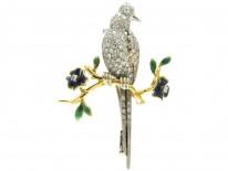 Diamond & Enamel Bird Brooch