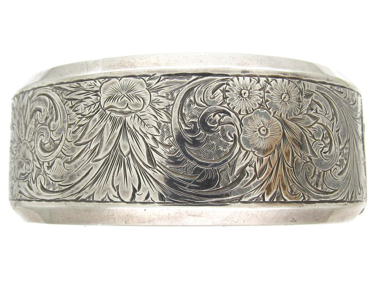 Victorian Engraved Silver Bangle