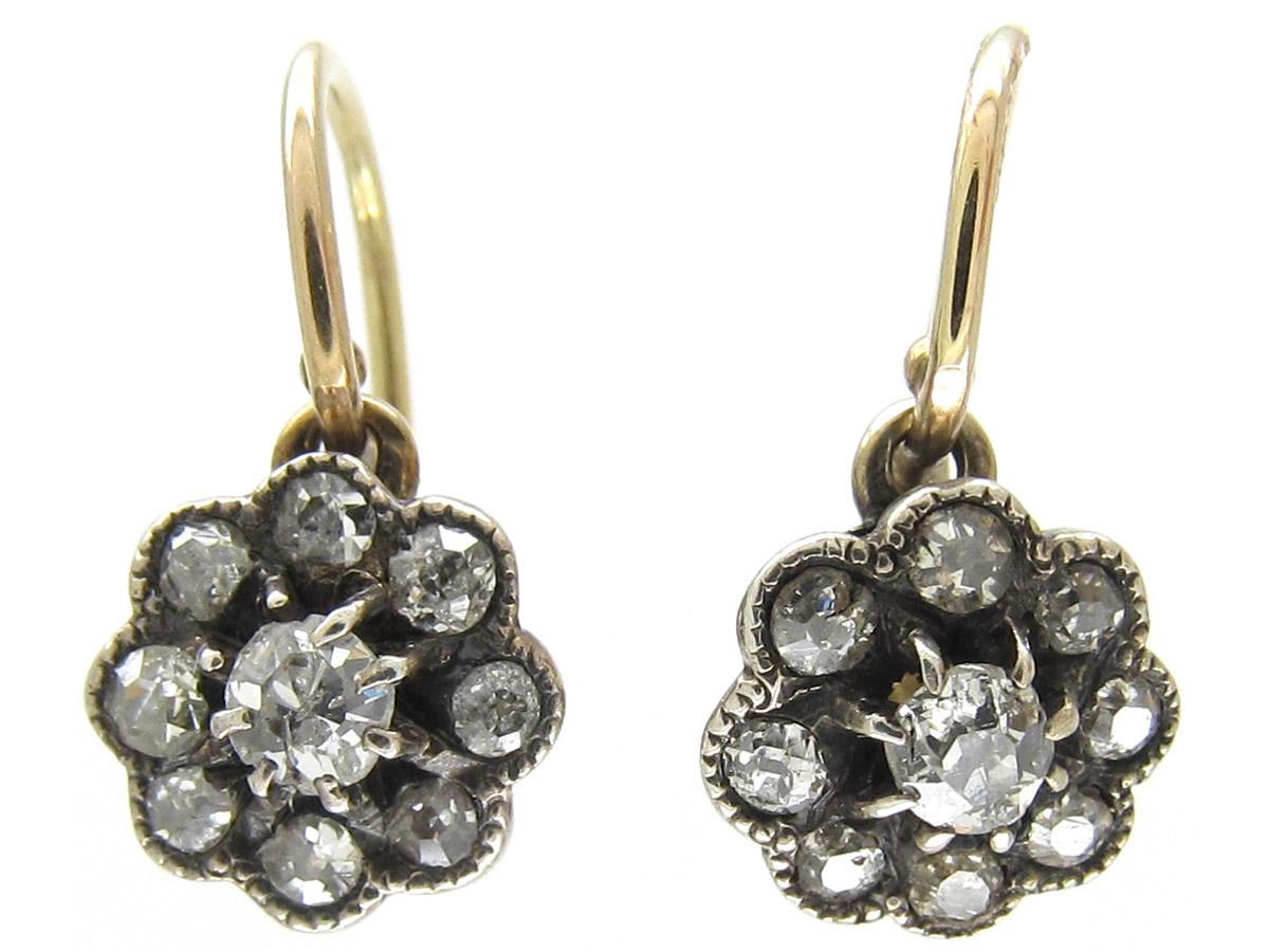 Small Diamond Cluster Edwardian Earrings