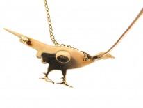 Edwardian 15ct Gold & Enamel Pheasant Brooch
