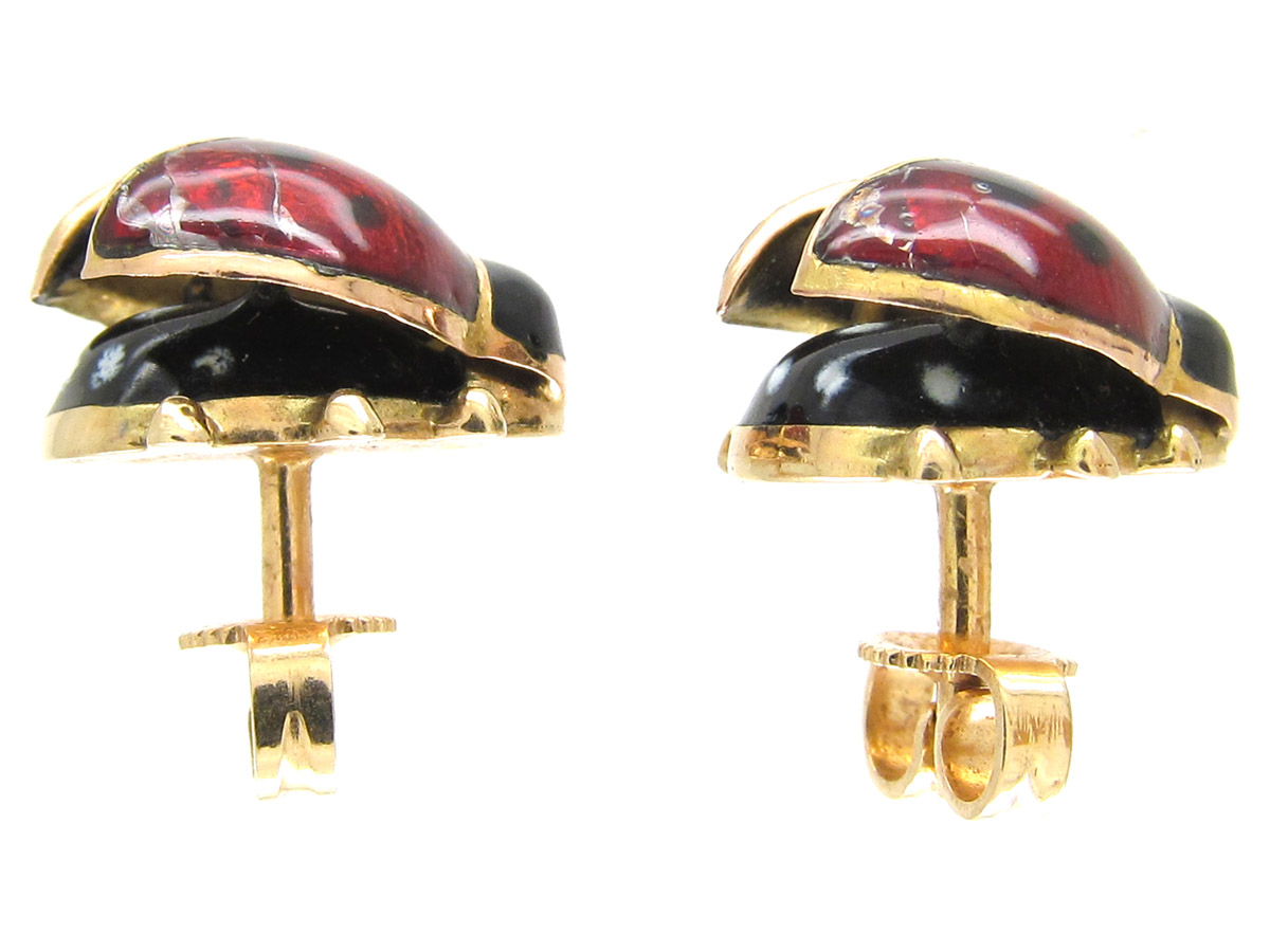 Enamel 14ct Gold Ladybird Earrings