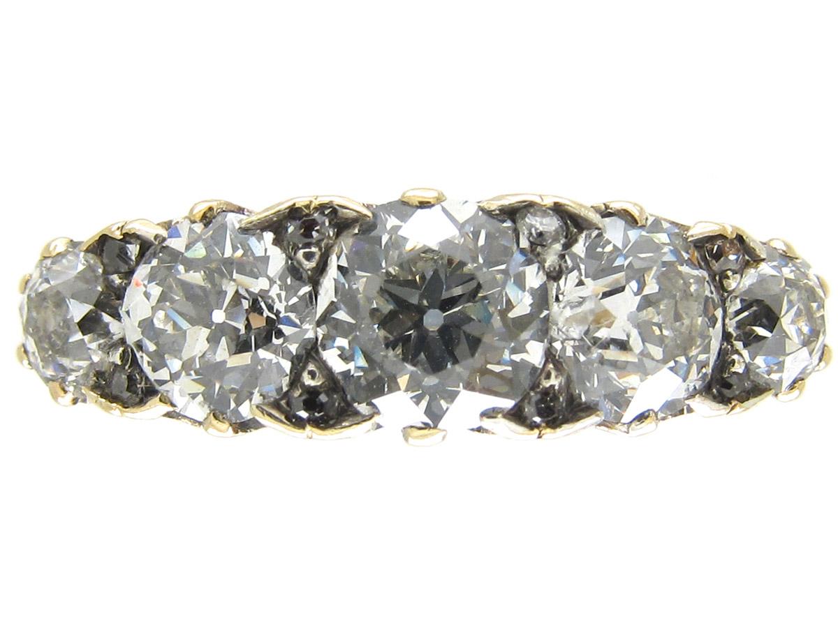Victorian Five Stone Diamond Half Hoop Ring