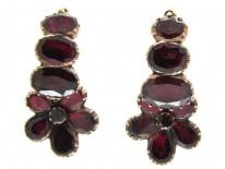 Georgian Flat-Cut Garnet Pansy Cluster Earrings