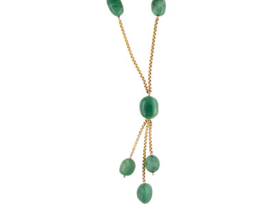 9ct Gold Aventurine Beads Necklace