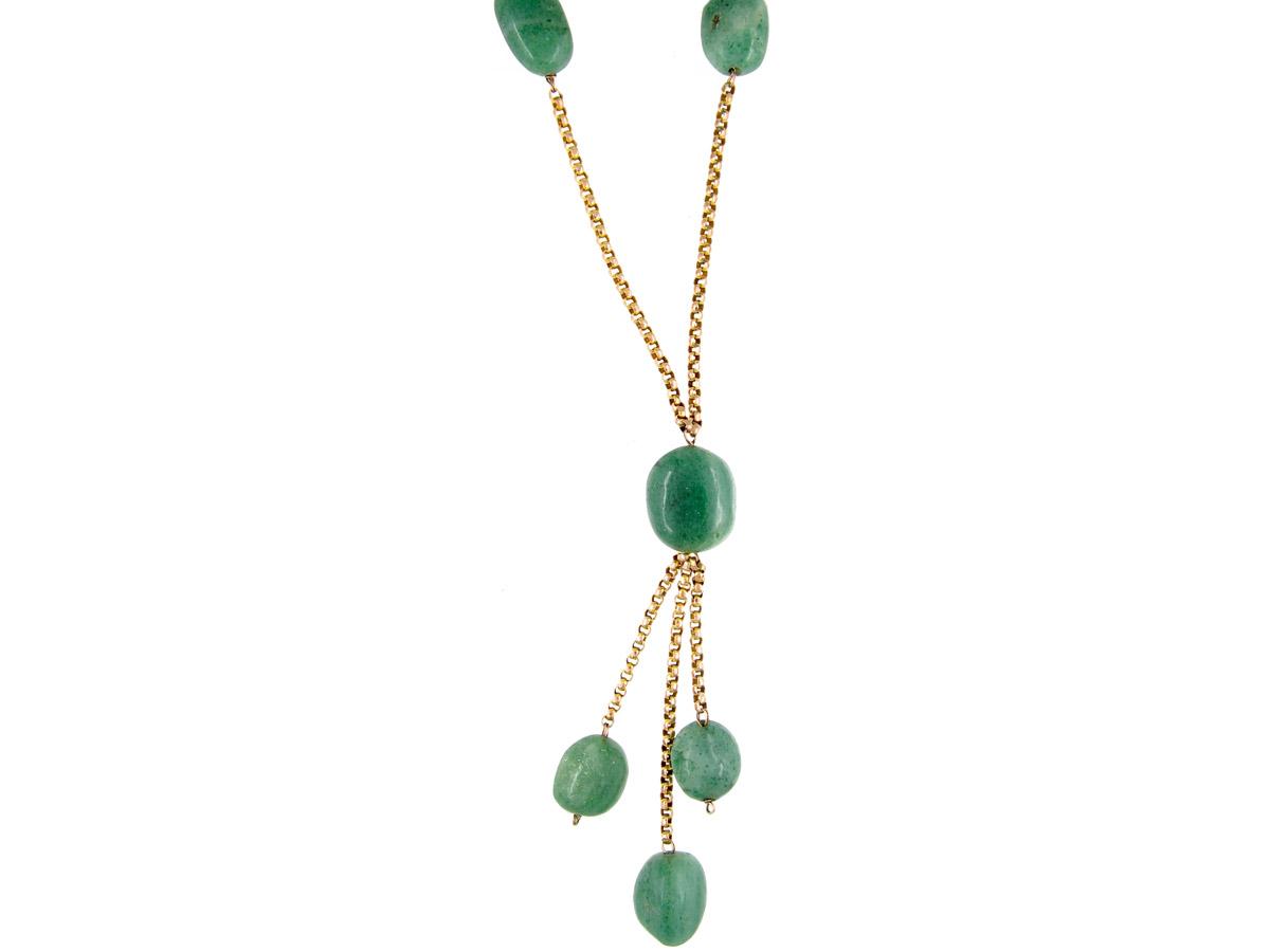 9ct Gold Aventurine Beads Necklace