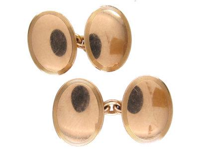 9ct Gold Edwardian Oval Cufflinks