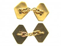 Art Deco Gold & Enamel Diamond-Shaped Cufflinks