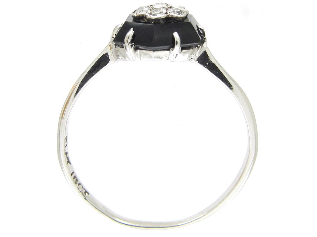 Art Deco Hexagonal Onyx & Diamond Ring