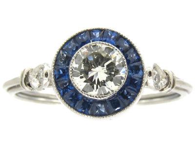 Art Deco Sapphire & Diamond Target Cluster Ring