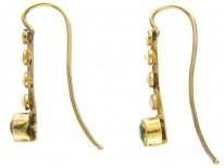 Edwardian Natural Split Pearl & Peridot Drop Earrings