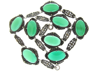 Silver, Chalcedony & Marcasite Art Deco Necklace