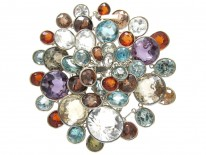 Edwardian Silver multi Gemstone Necklace
