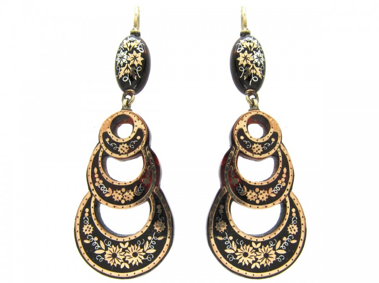 Victorian Tortoiseshell Pique Treble Hoop Earrings