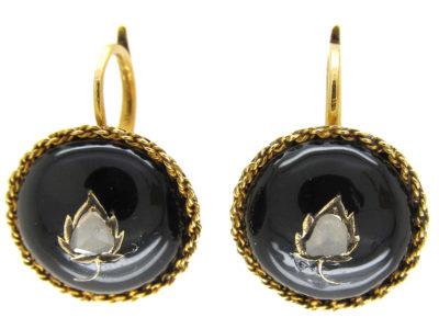 Black Enamel & Rose Diamond Victorian Gold Earrings