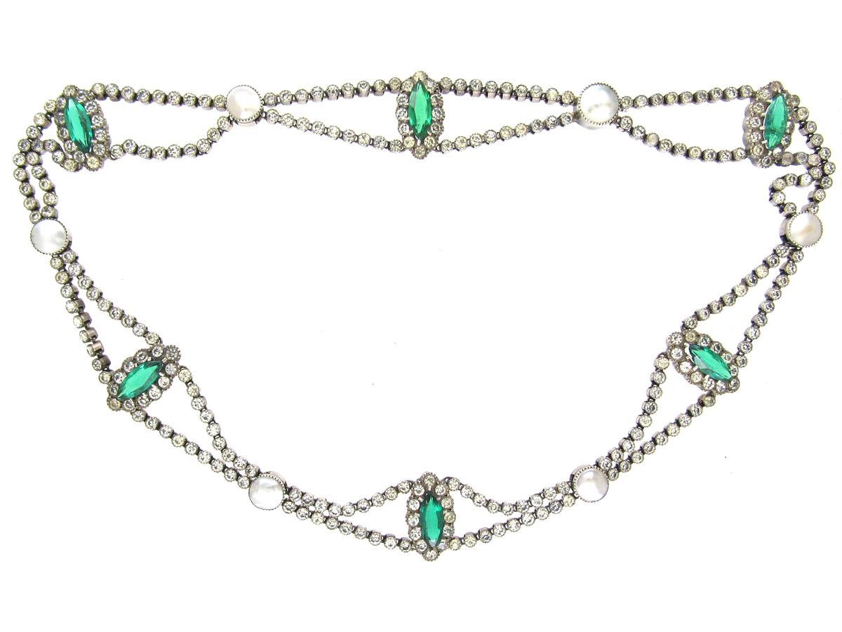 Edwardian Silver, Green & White Paste Festoon Necklace