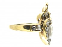 Victorian 18ct Gold Natural Pearl & Garnet Double Heart Ring
