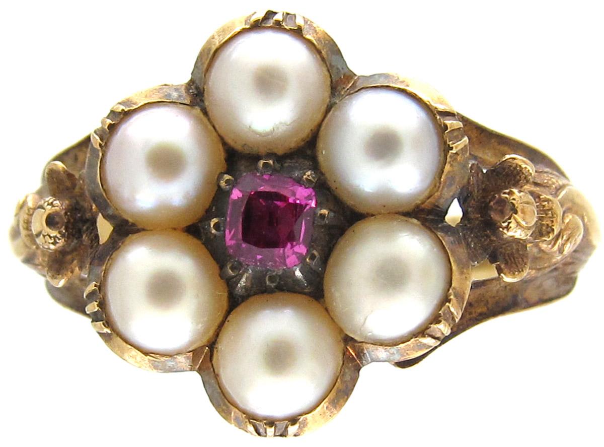 Regency Natural Pearl & Ruby Cluster Ring