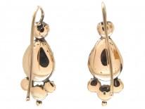 Georgian Flat Cut Garnet & Pearl Gold Earrings
