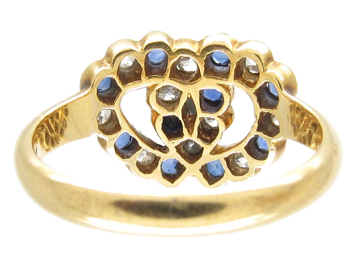 Edwardian 18ct Gold Intertwined Sapphire & Diamond Hearts Ring